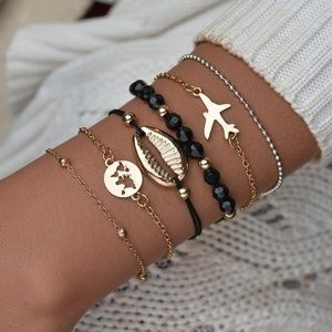 Jewelry - 6 Pcs Boho Bracelet Set w/ Airplane & World Map